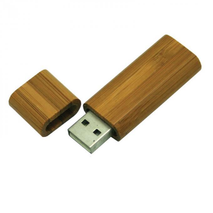 Secure Bamboo USB Flash Drive 32GB Large Capacity USB 2.0 With LED Light