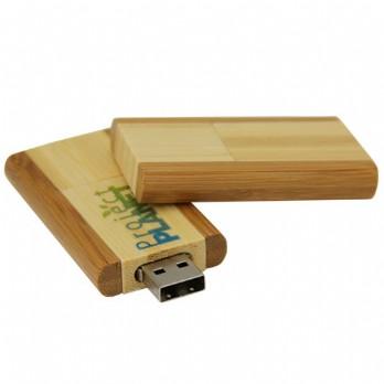 Keychain Swivel Bamboo Pen Drive Portable Black Laser Logo Engraving