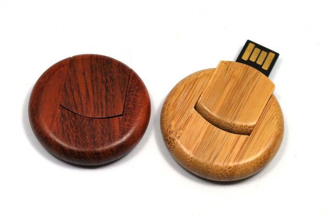 Round 8GB Bamboo Secure USB Drive USB 3.0 External Hard Drive