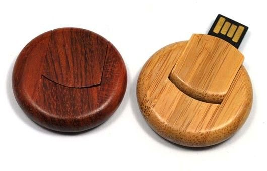 Round 8GB Bamboo Secure USB Drive USB 3.0 External Hard Drive