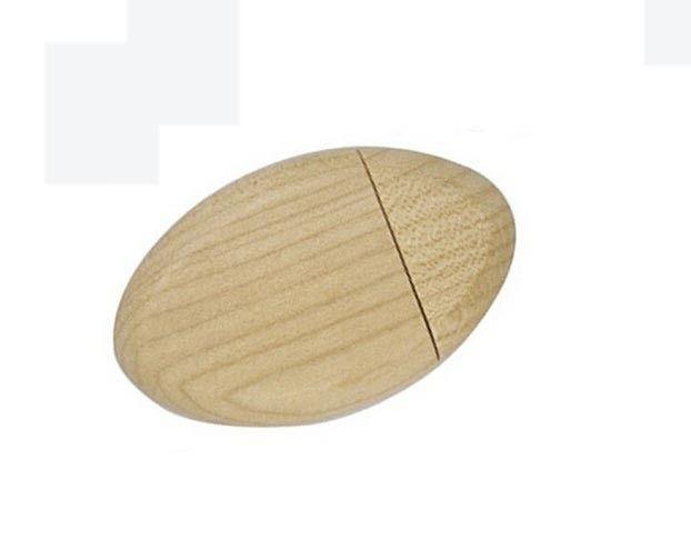 Personalized 16GB 64GB Oval wooden thumb drive printed usb sticks