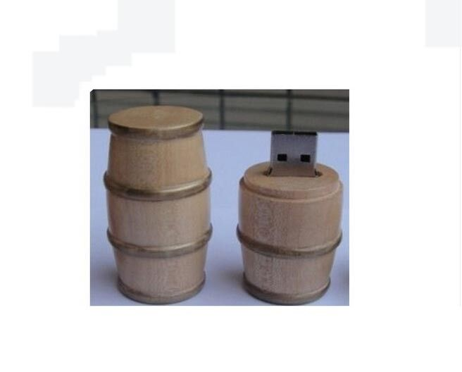 64GB casks shaped Wood USB Flash Drive logo print password protection