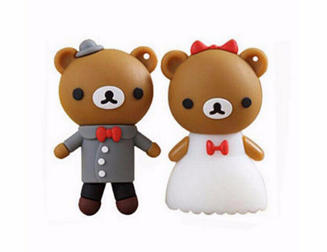 cartoon bear pendrive bride groom pen drive 4gb usb flash drive  memory stick wedding gift