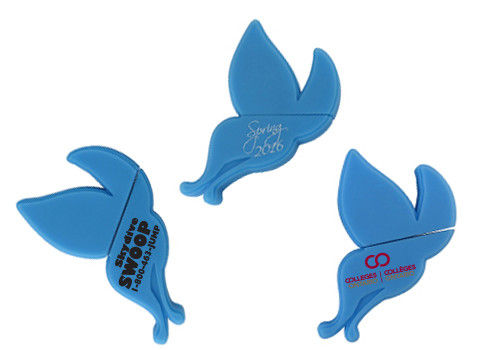 Promotional 2D - 2D Custom USB Memory Stick , Blue Butterfly with White