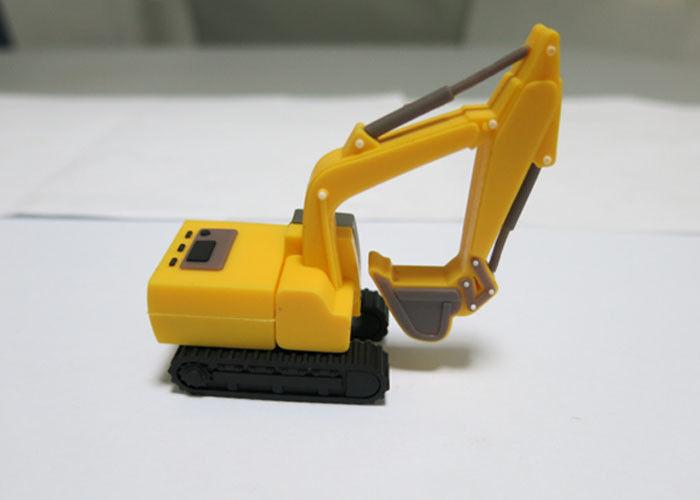 Excavator Yellow Custom USB Memory Stick , Personalized Hi - Speed USB Flash Drive