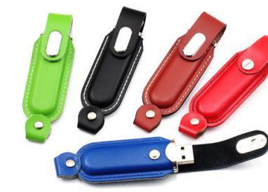 Slim Brown Leather USB Memory Stick / USB Pendrive 8 Gig - 16 Gig